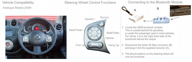 адаптер кнопок на руле для Nissan без can шины