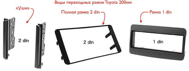 Виды переходных рамок для Toyota (размер 200 мм)